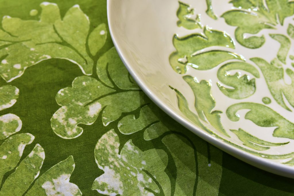 Bertozzi green linen tablecloths