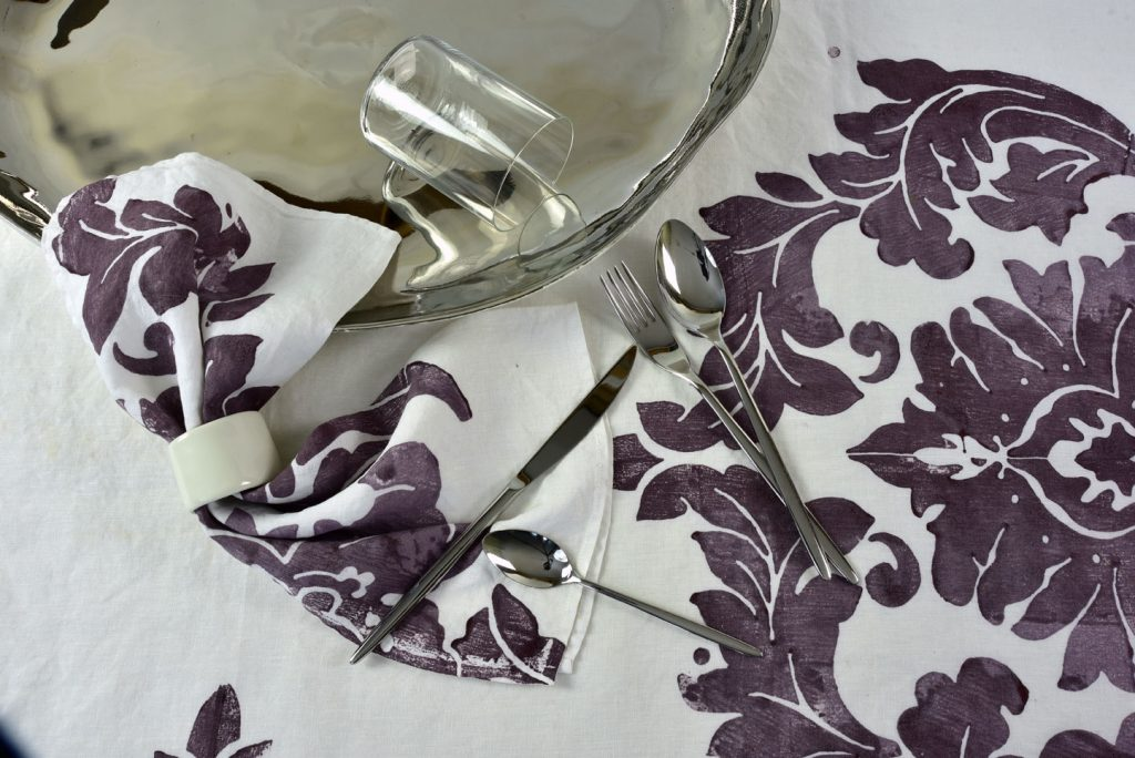 hand printed linen napkin