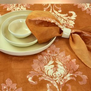 hand painted linen tablecloth