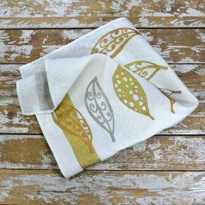 Bertozzi linen tea towels gold leaves