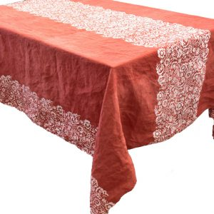 Bertozzi red linen tablecloth