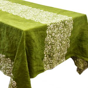 Bertozzi green linen tablecloth