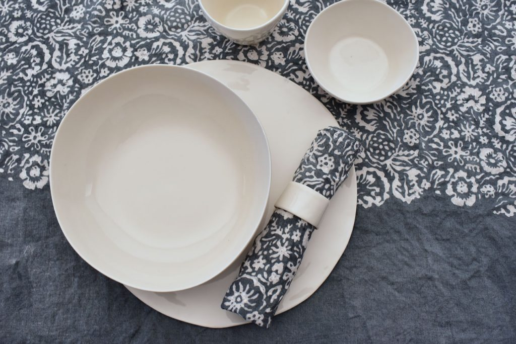 Bertozzi grey linen table setting