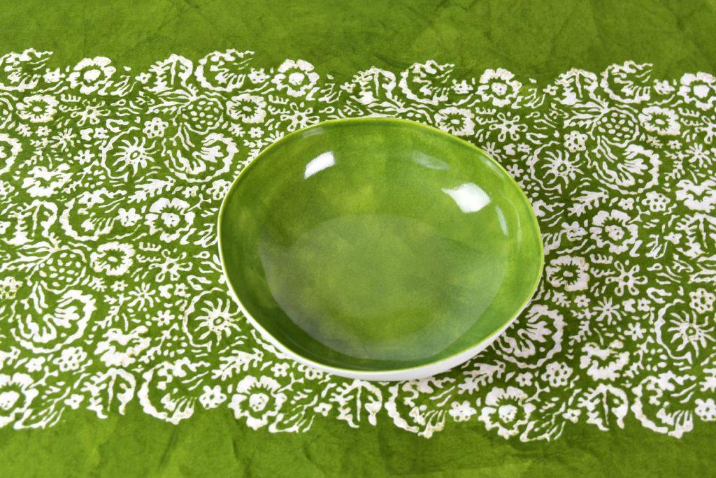 Bertozzi green linen tablecloth