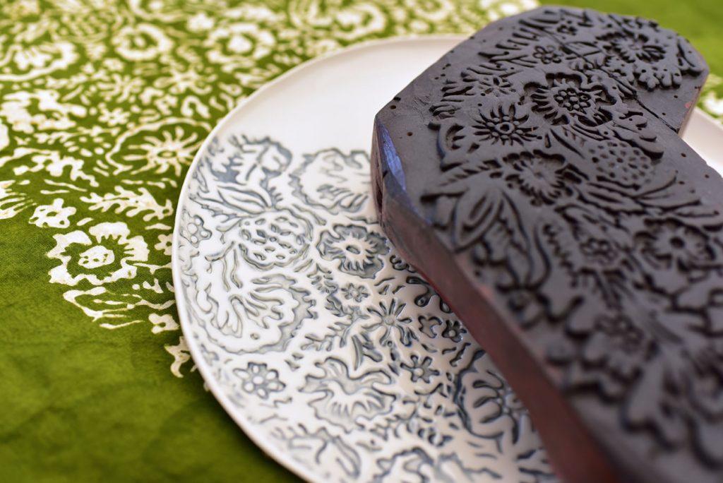 Hand stamped porcelain plates