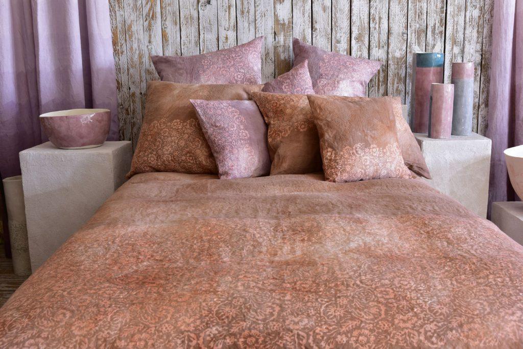 hand painted bedlinen mattone