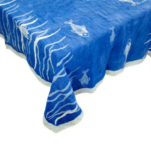 hand painted blue linen tablecloth