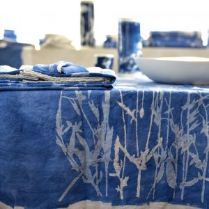 Blue linen tablecloth Bertozzi