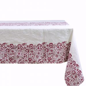 Linen tablecloth bertozzi red