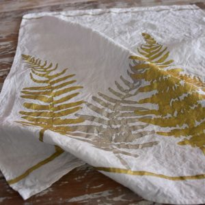 Gold Fern linen tea towel