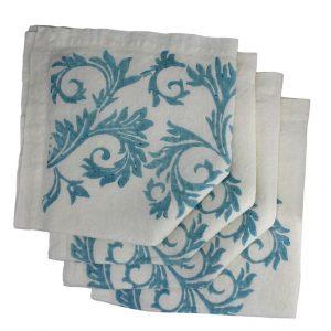Bertozzi turquoise linen napkin
