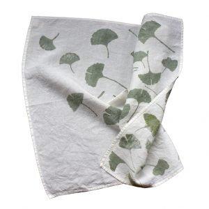Hand printed linen tea towel ginkgo