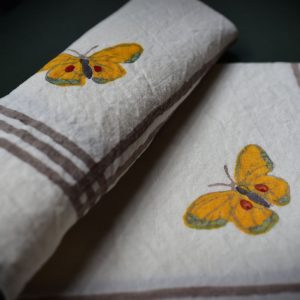 butterfly patterned linen napkins