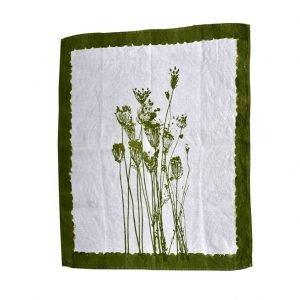 hand printed linen tea towel herbs
