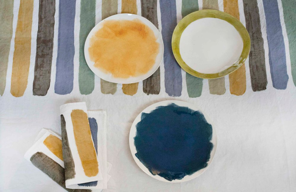bertozzi coloured linen tablecloth