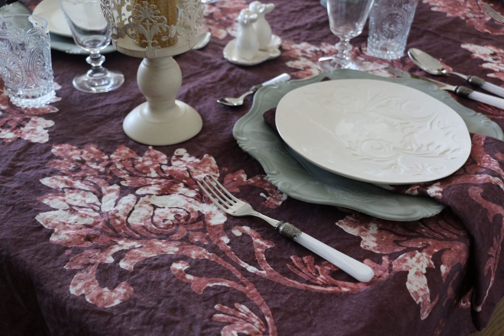 Bertozzi handprinted plum tablecloth