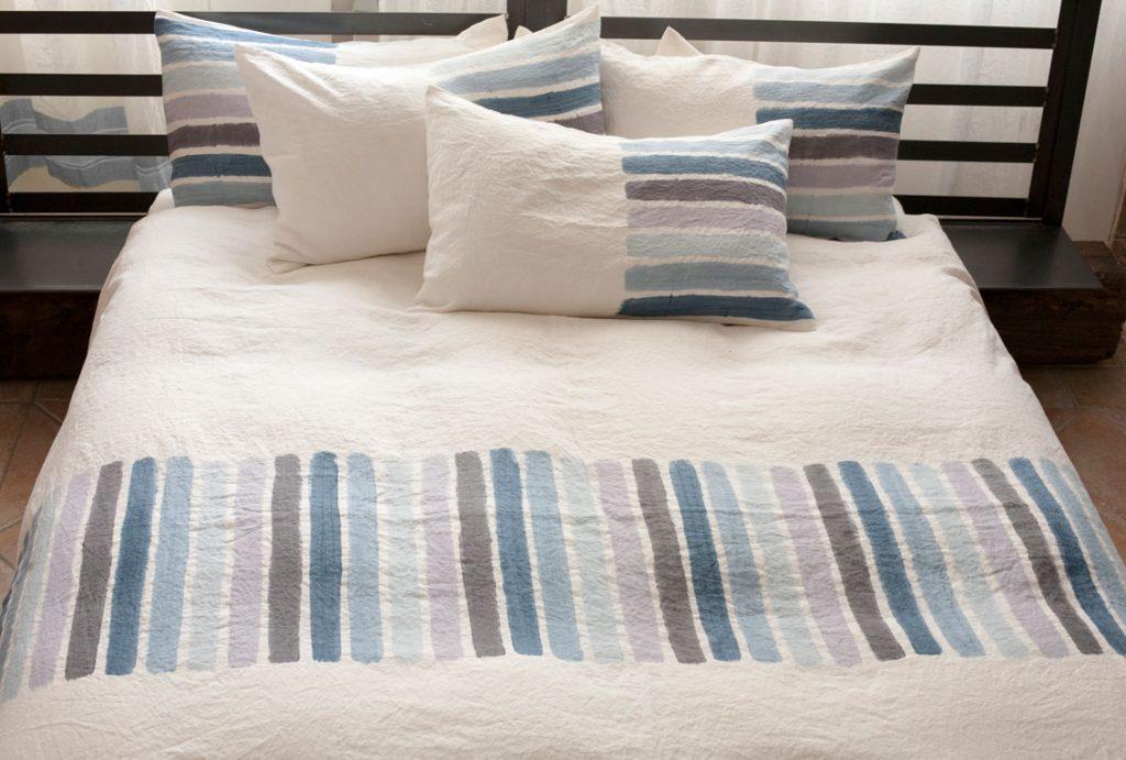 Bertozzi blue striped bedlinen