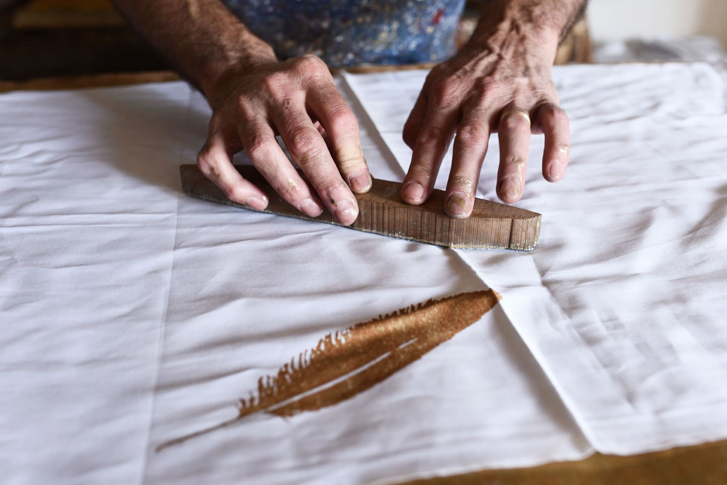 Block-printed feathers tablecloth