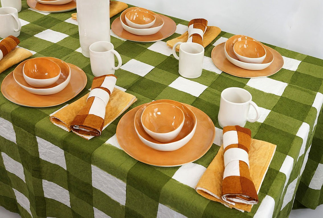 Bertozzi hand painted linen tablecloth