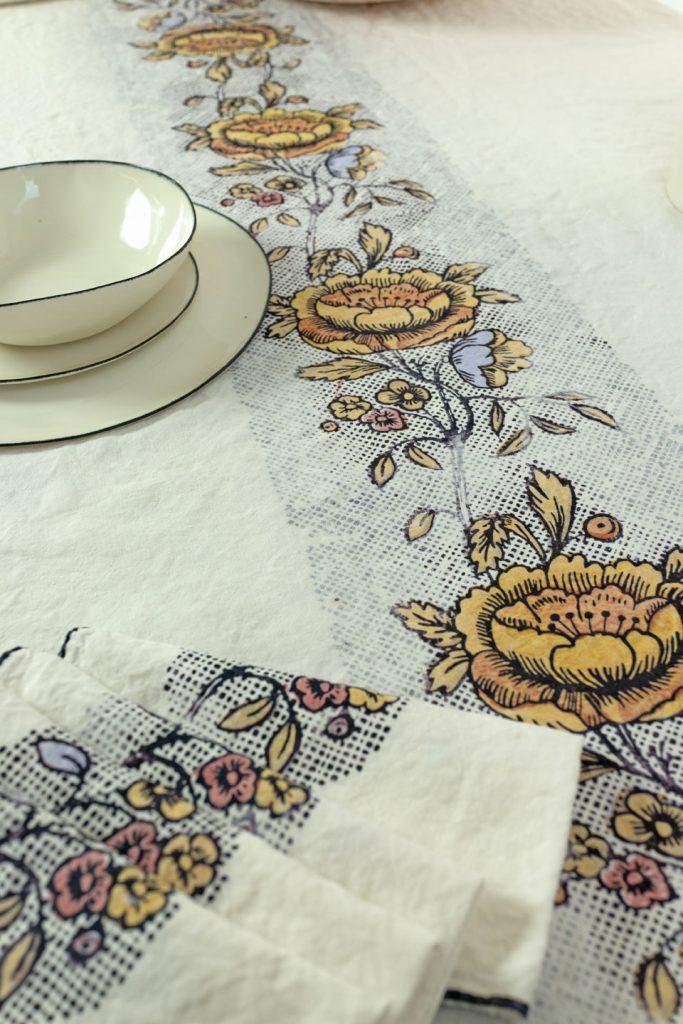 Bertozzi hand printed linen tablecloth