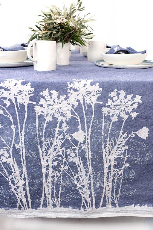 Bertozzi block printed linen tablecloth