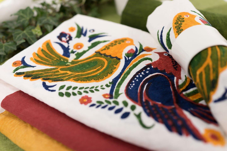 Bertozzi parrot linen napkins