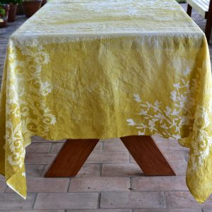 Bertozzi yellow linen tablecloth