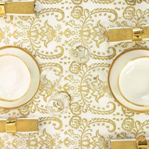Fine Italian designer linen gold tablecloth
