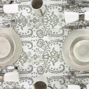 Fine luxury Italian linen Tablecloth Silver