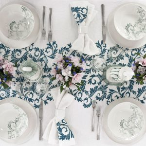 bertozzi linen tablecloth blue