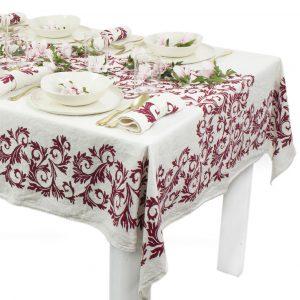 Bertozzi designer Italian linen tablecloth Burgundy
