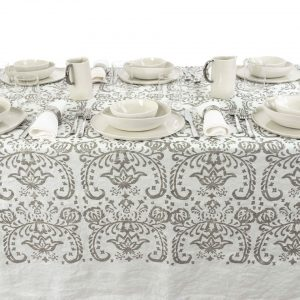 Exclusive italian linen tablecloth silver