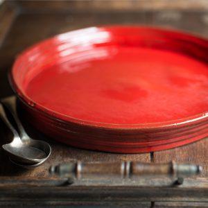 Handmade ceramic red round baking dish