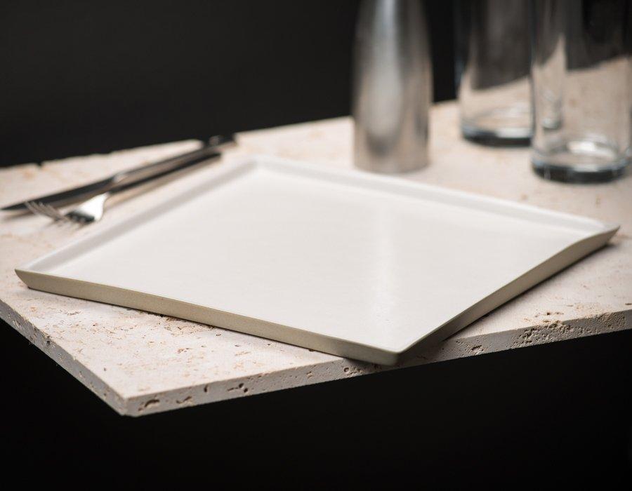 white square ceramic plate by Ceramiche Bucci