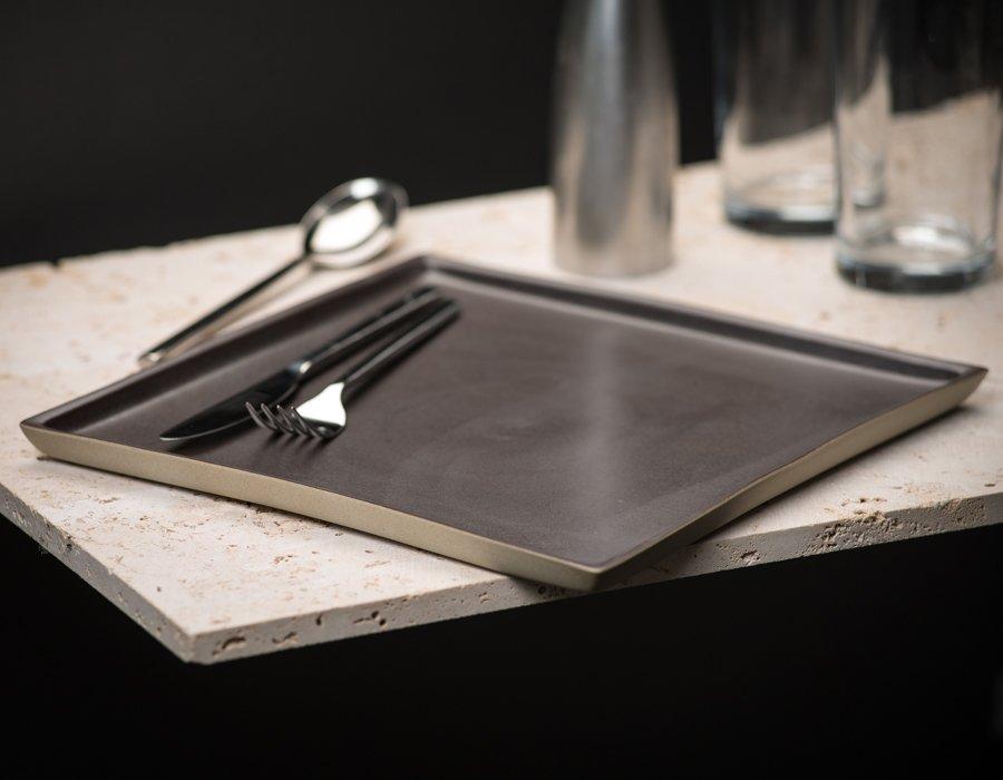 brown square ceramic plate by Ceramiche Bucci