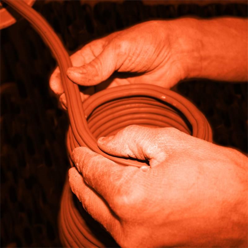 hand coiling artisan ceramics