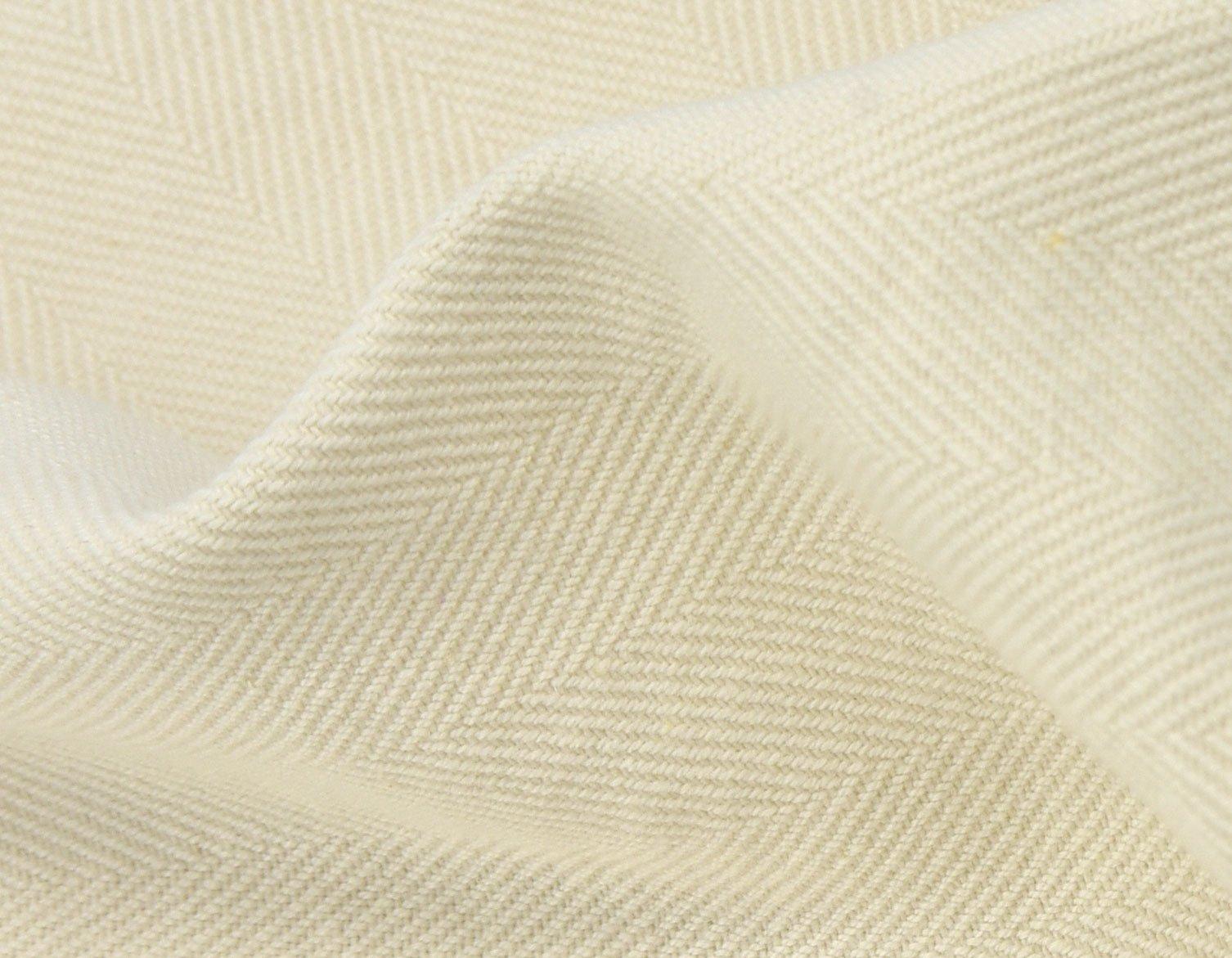 Herringbone blended cotton off white linen