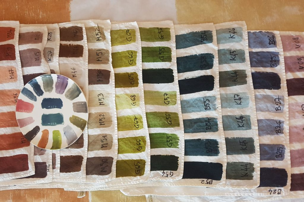 colour chart for bespoke tablecloths