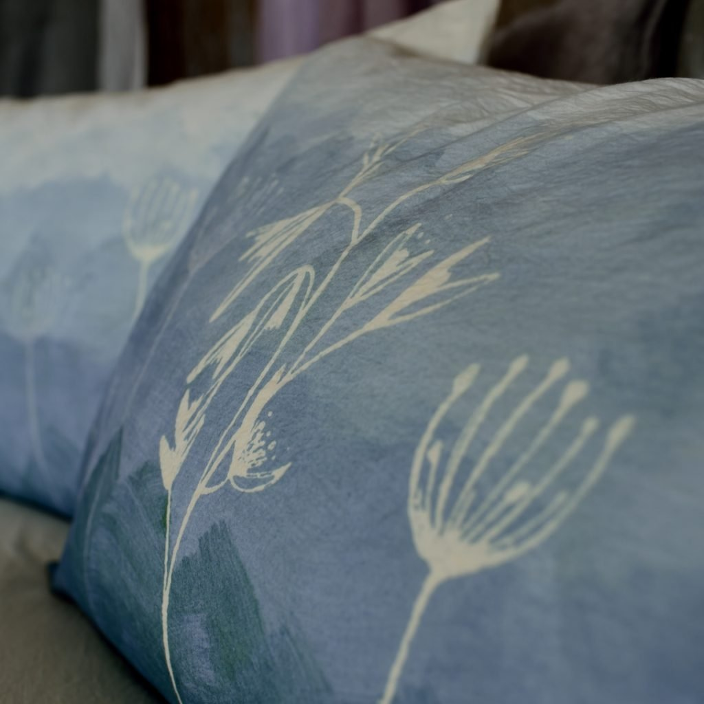 handprinted pillow case