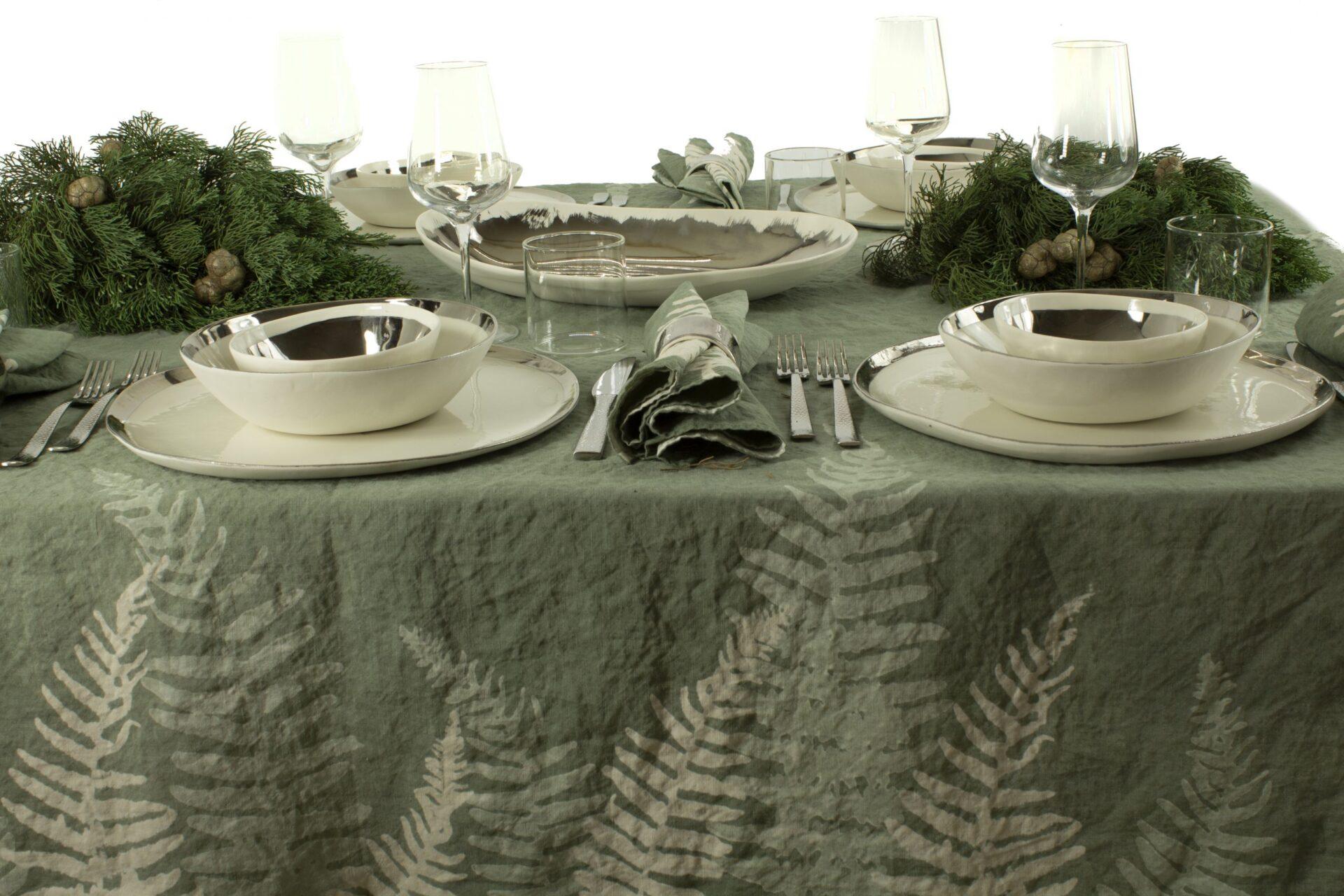 bespoke green table linen rustic