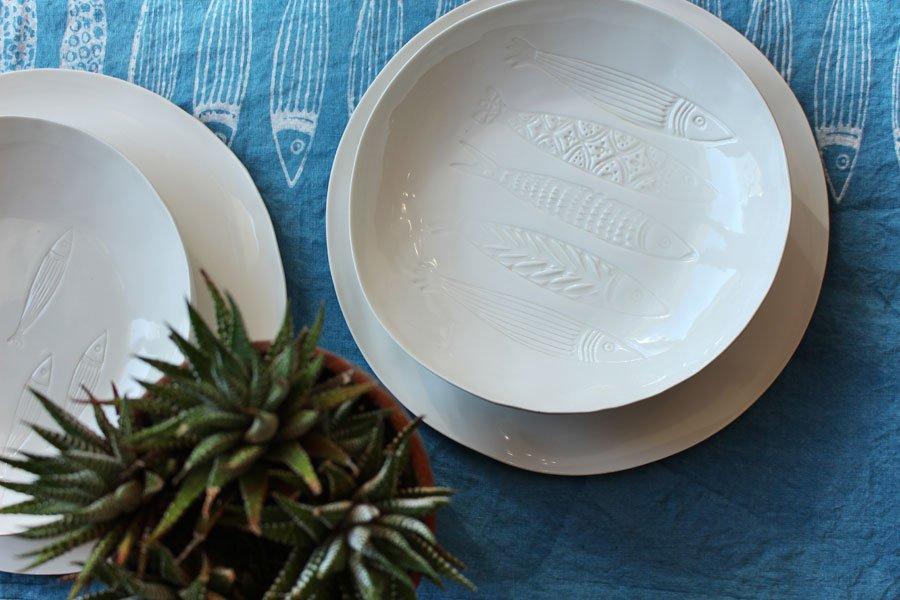 handmade porcelain plates fish design