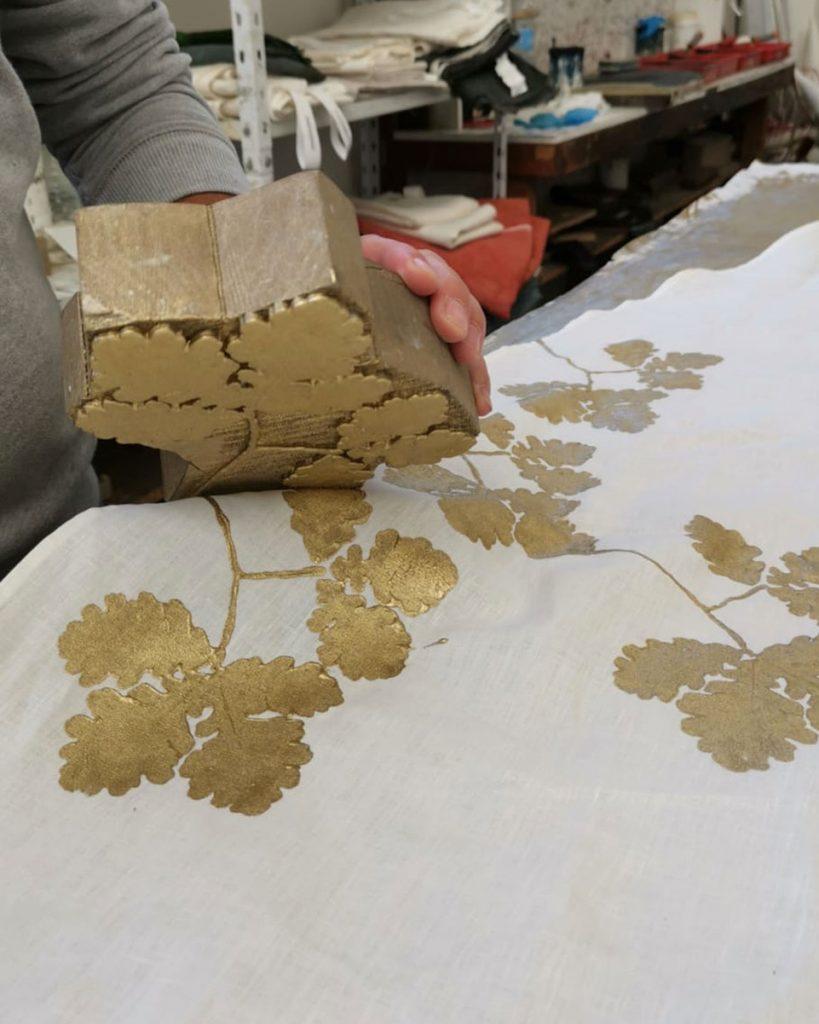 handprinting bespoke linen tablecloth