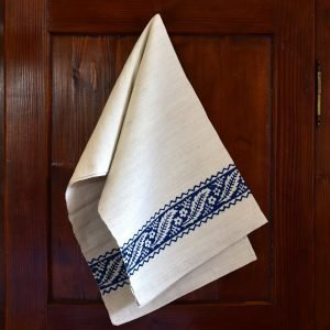 Vintage Hemp Linen Towel Chestnut Leaves Blue