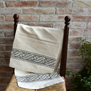 Vintage Hemp Linen Towel Chestnut Leaves Grey