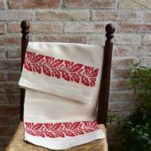 Vintage Hemp Linen Towel Oak Leaves Red