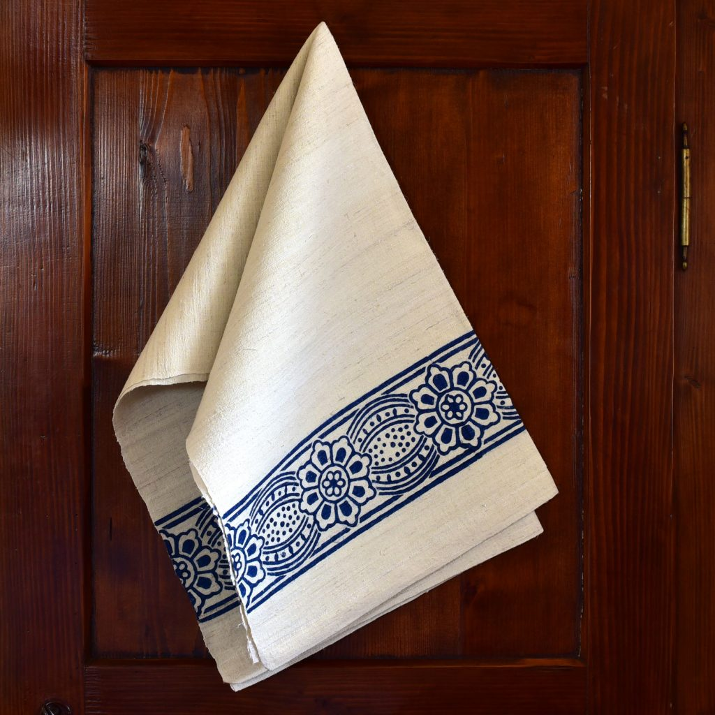 Vintage Hemp Linen Towel Bumblebee Primrose Blue