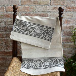 Vintage Hemp Linen Towel Bumblebee Primrose Grey