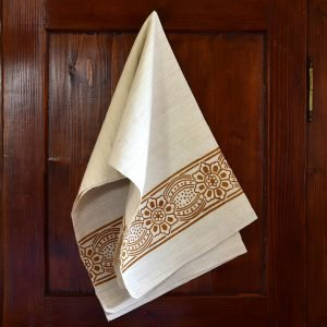 Vintage Hemp Linen Towel Bumblebee Primrose Rust