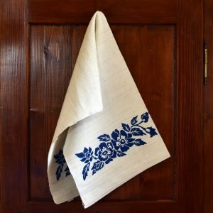 Vintage Hemp Linen Towel Dog Rose Blue
