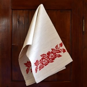Vintage Hemp Linen Towel Dog Rose Red